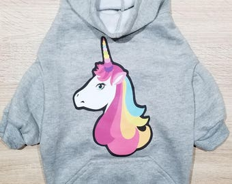 Unicorn Dog Hoodie - Dog Hoodie - Dog Sweater - Cute Dog Sweater - Unicorn Print - Dog Shirt