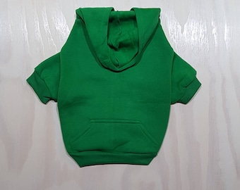 Green Zip Up Dog Hoodie - Dog Sweater - Dog Clothing