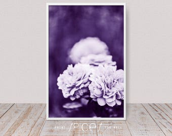 Purple Wall Art Violet Art Decor Dark Floral Roses Photography 2018 Trending Ultra Violet Modern Flower Print Contemporary Photo Lilac & Purple wall art | Etsy