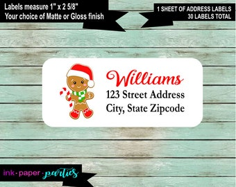 30 Custom Christmas Santa Snowman Personalized Address Labels