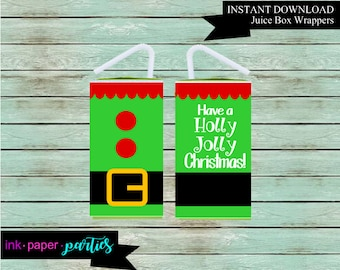 Santa Christmas Holiday or Birthday Party Favors Favor Favors Juice Box Covers Wrappers Labels Personalized We Print and Mail to you!