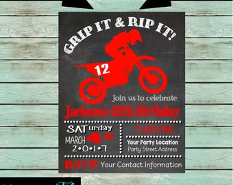 Dirt bike invitation etsy dirt bike motorcycle motorcross chalkboard birthday party invitations invites personalized custom we print and mail to you filmwisefo