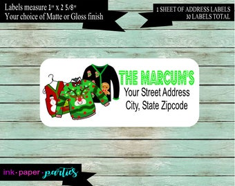Christmas Holiday Ugly Tacky Sweater Return Address Labels Favors Personalized Custom ~ We Print and Mail to You