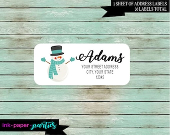 Holiday Christmas Snowman Return Address Labels Personalized Custom ~ We Print and Mail to You