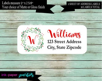 Christmas Holiday Floral Wreath Holly Return Address Labels Favors Personalized Custom ~ We Print and Mail to You