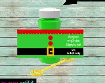 Christmas Holiday Elf 4 oz. Bubble Labels Wrappers Party Favors Favor Personalized Custom - We Print & Mail to You! -