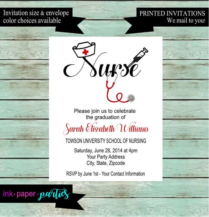 Graduation Graduate Nurse Nursing School Party Invitations Invites Announcement Personalized We Print And Mail