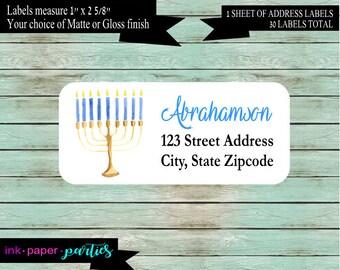 Hanukkah Menorah Chanukah Holiday Return Address Labels Favors Personalized Custom ~ We Print and Mail to You