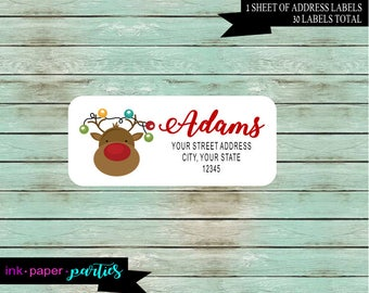 Holiday Christmas Reindeer Lights Return Address Labels  Personalized Custom ~ We Print and Mail to You