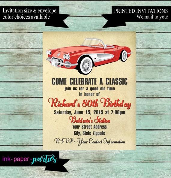 Vintage Classic Retro Car Birthday Party Invitations Invites