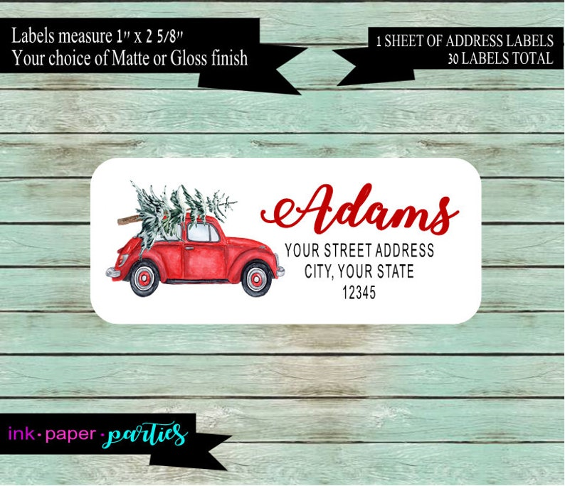 Christmas Holiday Tree Car Return Address Labels Favors Personalized Custom ~ We Print and Mail to You