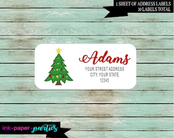 Holiday Christmas Tree Return Address Gloss Labels ~ We Print and Mail to You