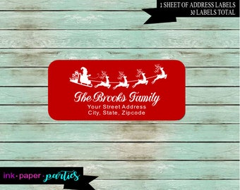 Christmas Holiday Santa Reindeer ~ ANY COLOR Background~ Return Address Labels Personalized Custom ~ We Print and Mail to You