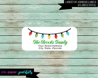 Holiday Christmas Lights Return Address  Labels Personalized Custom ~ We Print and Mail to You