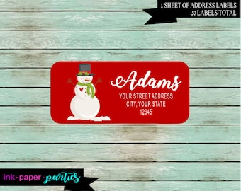 Christmas Holiday Snowman ~ ANY COLOR Background~ Return Address Labels  Personalized Custom ~ We Print and Mail to You