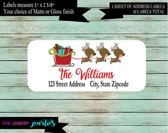 Christmas Holiday Reindeer Return Address Labels Personalized Custom ~ We Print and Mail to You