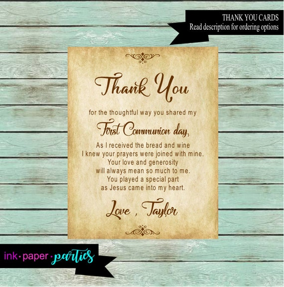 First Holy Communion Chalkboard Thank You Note 1st Communion Thank You Card SHIPPING INCLUDED Cross Printable or Printed