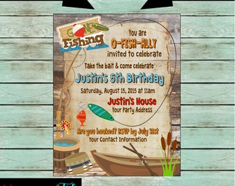 Gone Fishing Fish Fisherman Reel Rod Birthday Party Invitations Invites Personalized Custom ~ We Print and Mail to You