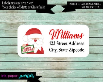 Christmas Holiday Santa Return Address Labels Personalized Custom  ~ We Print and Mail to You
