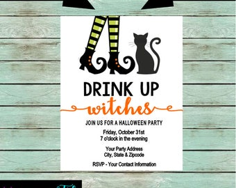 Halloween Party Witch Drink Up Witches Party Invitations Invites Personalized Custom Design ~ We Print and Mail
