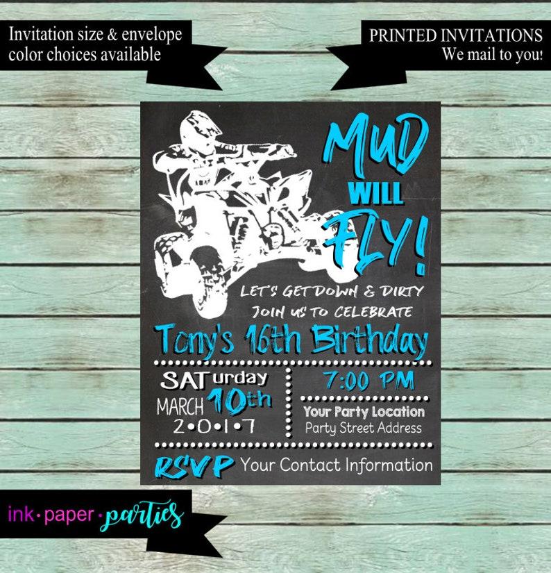 Four 4 Wheeler ATV Quad Chalkboard Birthday Party Invitations