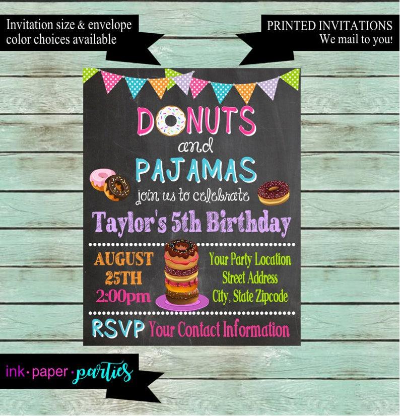 Donuts And Pajamas Birthday Chalkboard Party Invitations
