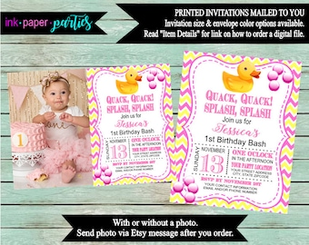 Rubber Duck Ducky Baby Shower or Birthday Party Invitations Invites With or Without Photo Personalized Custom ~ We Print and Mail to You