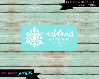 Snowflake Snow Flake ~ ANY COLOR Background~ Return Address Gloss Labels ~ We Print and Mail to You