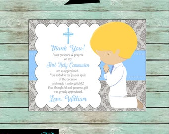 First Holy Communion Religious ~Any Color Font ~ Party Damask Thank You Note Cards Personalized Custom ~ We Print and Mail to You