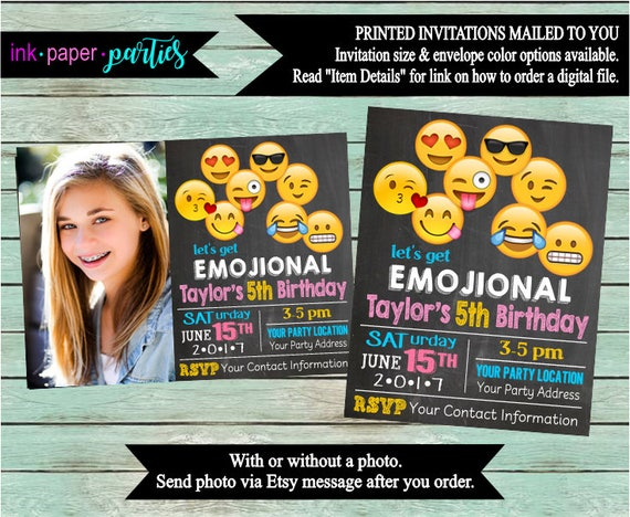 emoji birthday party chalkboard invitations invites we print etsy