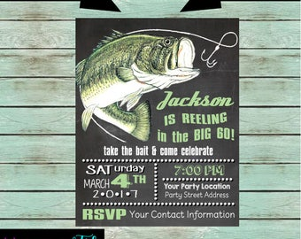 Gone Fishing Fish Fisherman Reel Rod Birthday Party Chalkboard Invitations Invites Personalized Custom ~ We Print and Mail to You