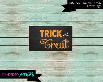 """Halloween """"Trick or Treat"""" Favor Favors Treat Tag Tags Digital File Instant Download"""