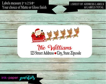 Christmas Holiday Santa Reindeer Return Address Labels Personalized Custom ~ We Print and Mail to You