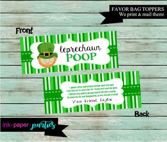 St. Patricks Day Leprechaun Poop Kids Candy Goody Party Goody Goodie Favor Treat Bag Toppers ~ Digital File Instant Download