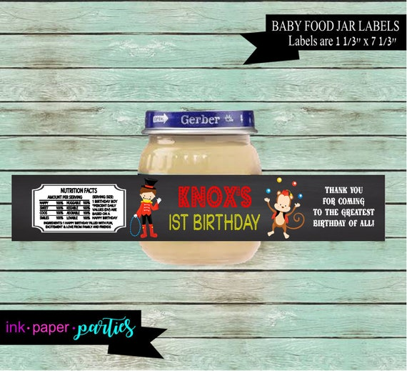 circus carnival birthday baby food jar labels wrappers party etsy