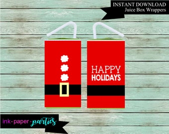 Instant Download ~ DIY ~ Printable ~ Christmas Holiday Santa Juice Box Wrappers Party Favors Favor Labels Digital File