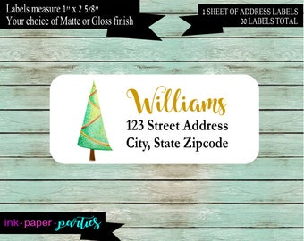 Christmas Holiday Tree Return Address Labels Favors Personalized Custom ~ We Print and Mail to You