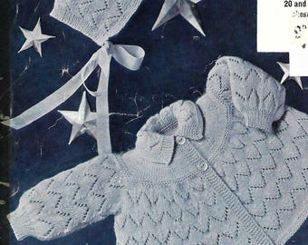 knitting pattern, baby girl's matinee coat and bonnet, sizes 20 to 22 inch, pdf, instant donwload