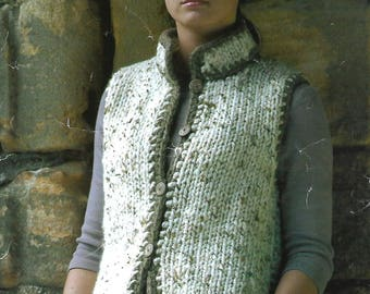 knitting pattern, women's, ladies, quick easy knit gilet, waistcoat, sizes 32 to 43 in, pdf, instant donwload