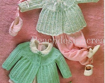 knitting pattern, pdf, baby girls, matinee jackets, sizes 17-19 in, digital download