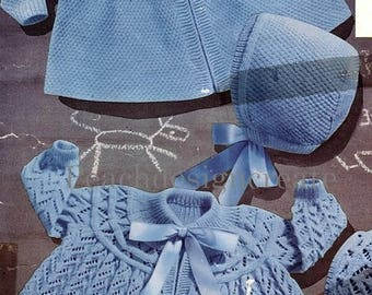 knitting pattern, baby girls, matinee jacket, coat, bonnet, ages 1 to 12 months, pdf, digital download, instant download