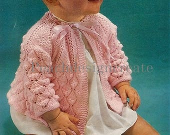 knitting pattern, baby girls matinee jacket, coat, ages 1 to 12 months, pdf, digital download, instant download
