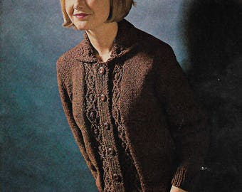 Blueprint cardigan etsy knitting pattern womens ladies 60s aran trellis knit cardigan sizes 34 to 40 in pdf instant download malvernweather Image collections
