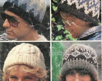 Knitting Pattern - nordic scandinavian cable beanie pom pom hats - chunky  knits - womens mens childs family - instant download PDF 29dd3776a9cd