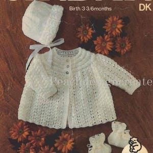 Coat dress bonnet shawl 3 Ply Size 12 to 18 Inch Chest Instant Download pdf Matinee Set Nealy Frees Baby Knitting Pattern