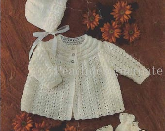 knitting pattern, baby girls matinee coat, bonnet, bootees, sizes 18-19 in, pdf, digital download, instant download