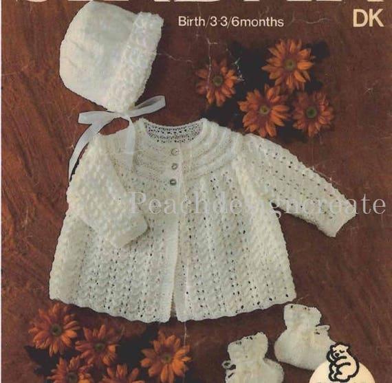 coat and bonnet dk knitting pattern 99p