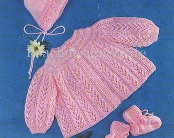 knitting pattern, baby girls, matinee coat, bonnet and bootees, pdf, digital download, instant download