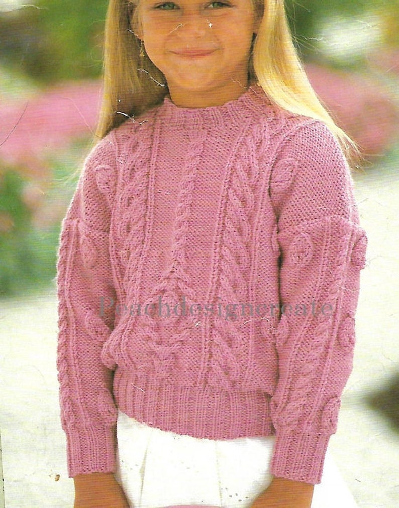 9af4d7806 Knitting pattern girl s cable knit sweater jumper ages