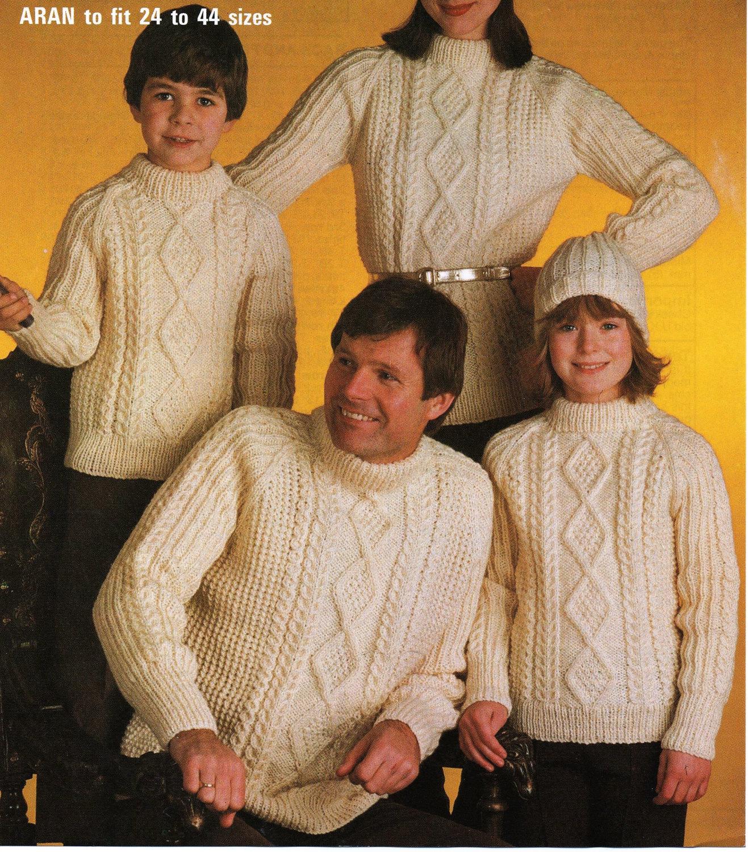 Knitting Pattern Ladies Men Girls Boys Jumpers Aran Cable Etsy